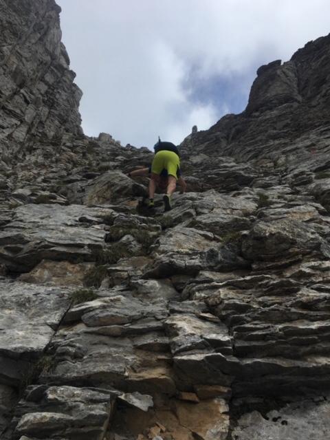 Kletterpassage unterhalb des Gipfels